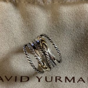 David yurman 925&18k double x crossover ring s7